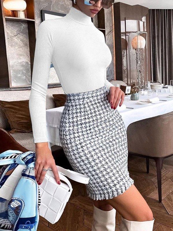 Ribbed Long Sleeve Bodysuit - White S