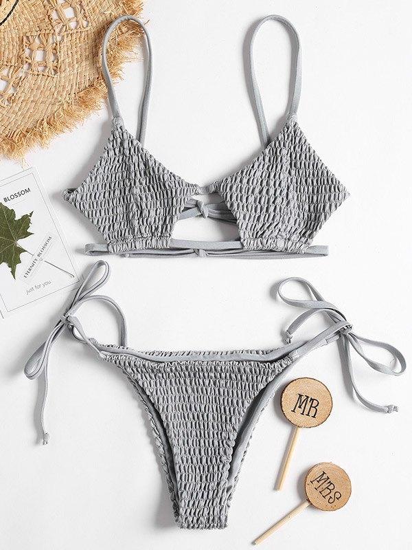 Smocked Solid Bikini Set - Gray S