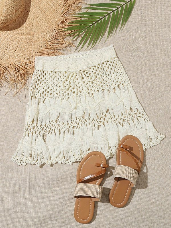 Minigonna Boho Crochet Hollow Cover-up - Bianca L