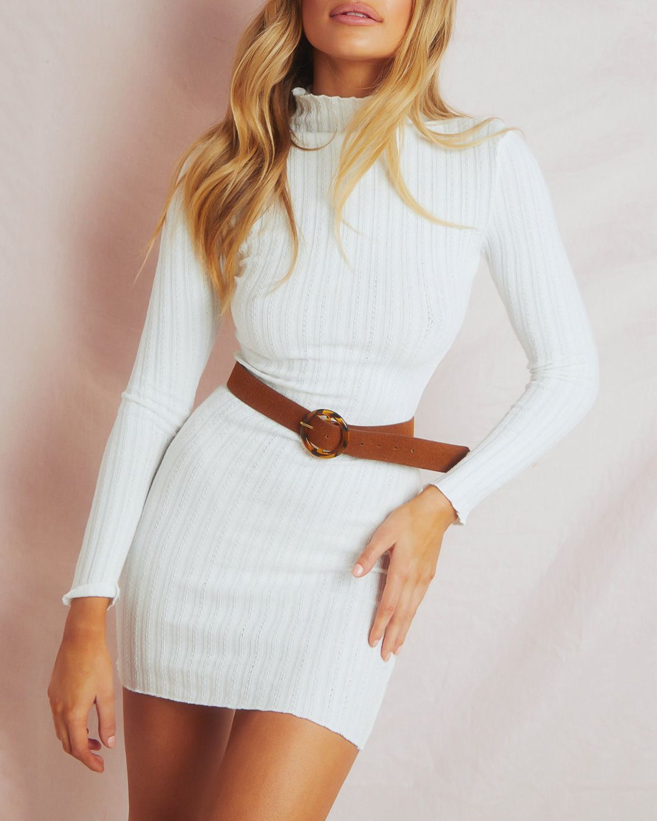 Wave Neck Rib-knit Dress - White S