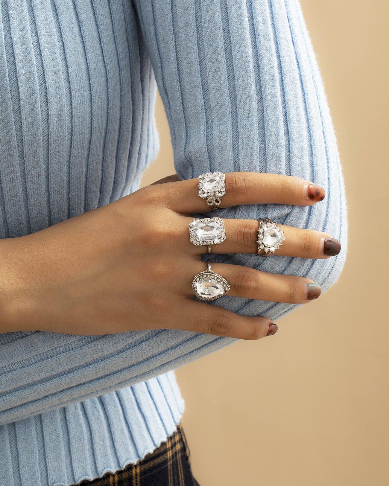 4pcs magnifique bague en diamant - Argent ONE SIZE
