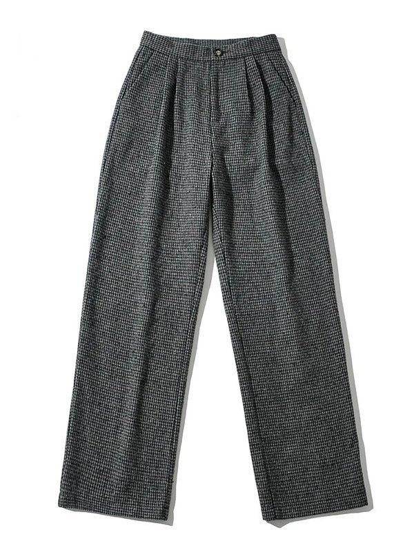90`S Plaid Straight Leg Pants - Black L