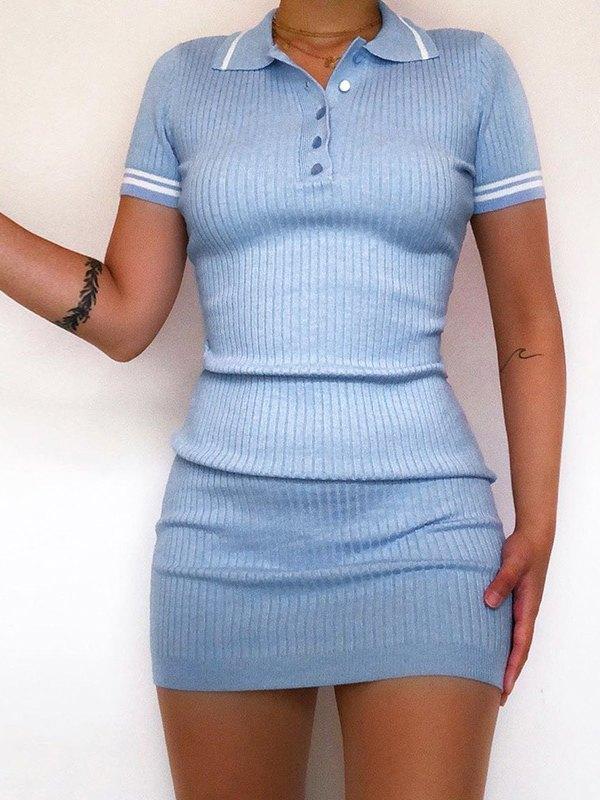 Solid Rib-Knit Polo Bodycon Dress - Blue ONE SIZE
