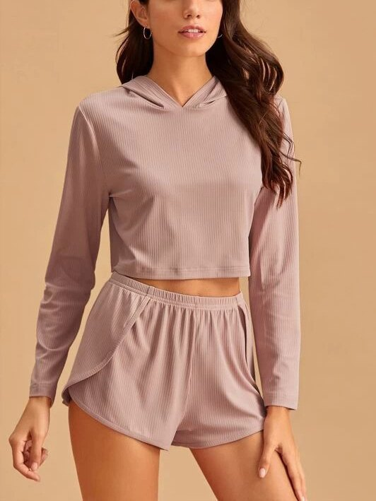 Solid Rib Knit Hooded Top & Shorts Lounge Set - Pink L