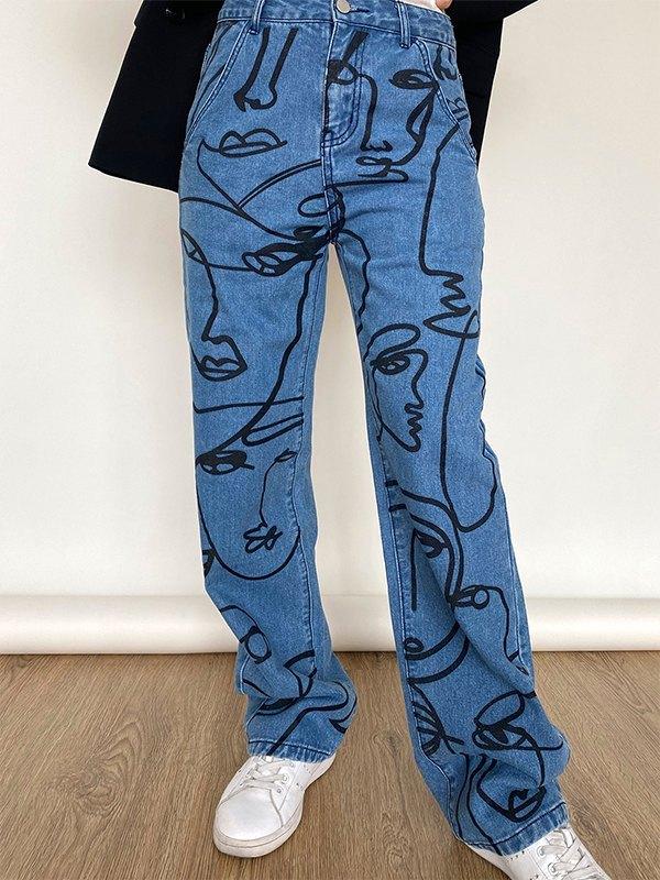 Art Abstract Lines Drawing Boyfriend Jeans - Denim Blue S