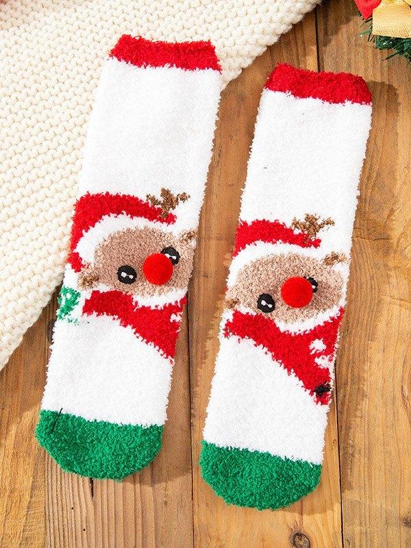 Chaussettes en molleton de Noël - Blanc ONE SIZE
