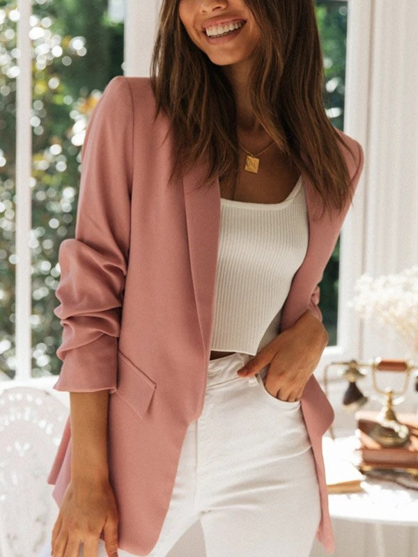 Stacked Sleeve Casual Blazer - Pink S