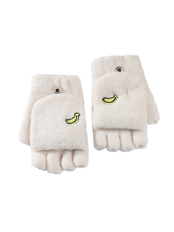 Cartoon Flap Half-Finger Knitted Gloves -  ONE SIZE