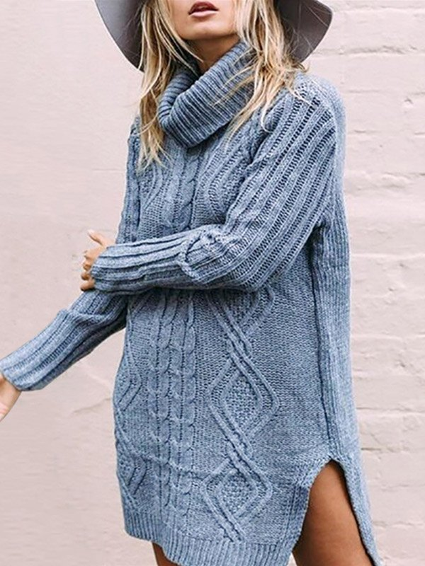 Split Hem Turtleneck Sweater Dress - Blue M
