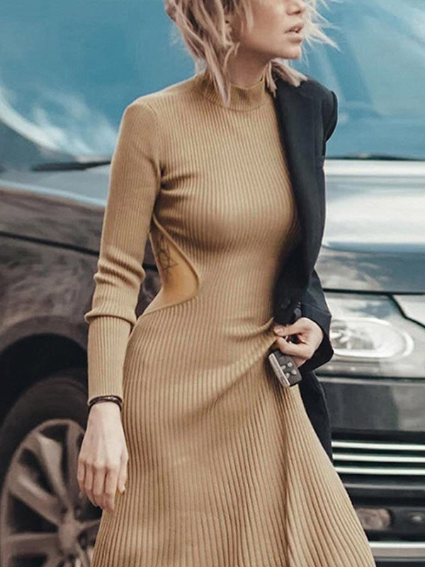 Open Back Ribbed Sweater Dress - Camel M