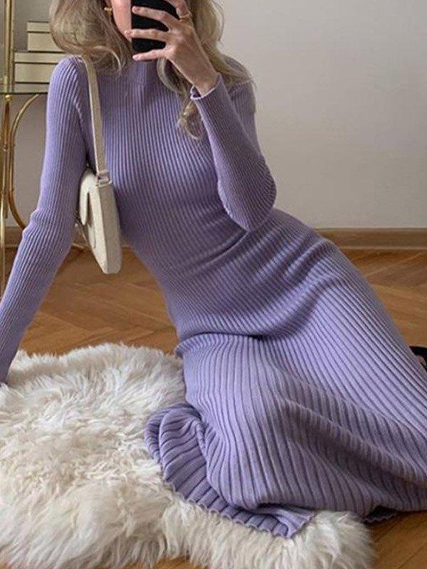 Open Back Ribbed Sweater Dress - Purple L