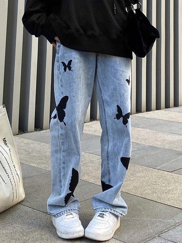 Butterfly Print High Waist Boyfriend Jeans - Blue S