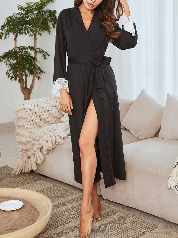 Lace Cuffs Front Tie Lounge Robe - Black S