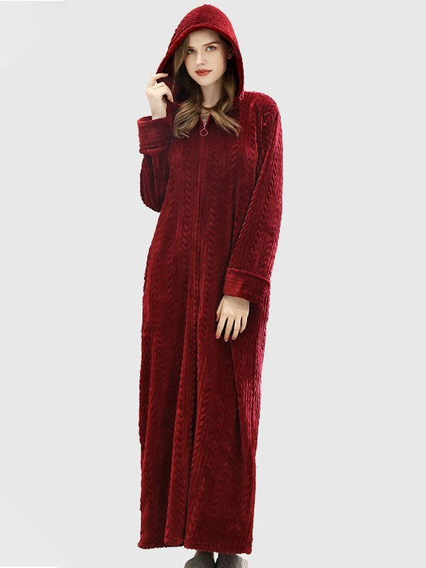 Zip-Up Long Hooded Flannel Lounge Robe - Red S