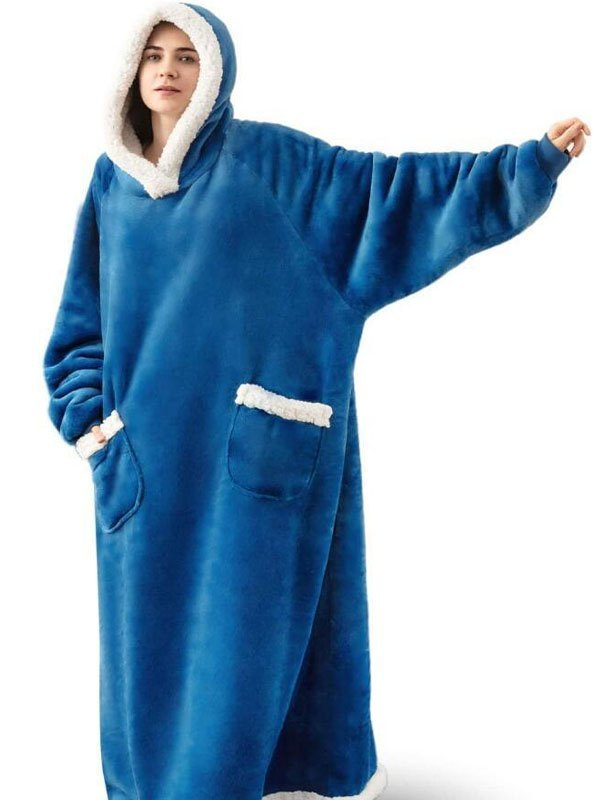 Long Sherpa Hooded Blanket - Blue ONE SIZE