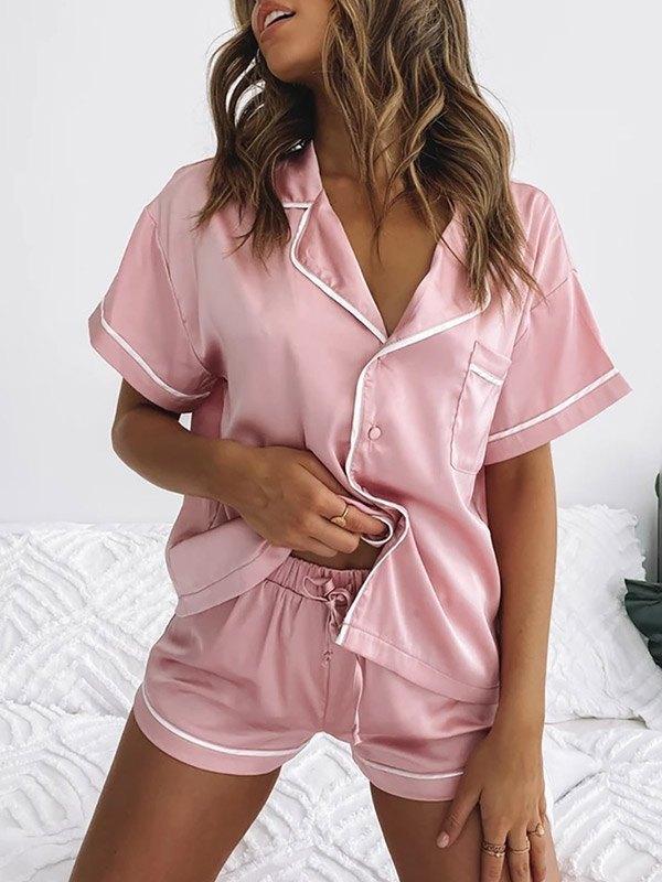Satin Short Sleeve Pajama Set - Pink S