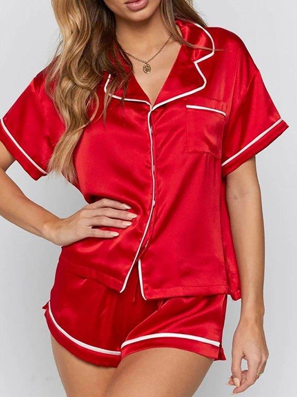 Satin Short Sleeve Pajama Set - Red XL