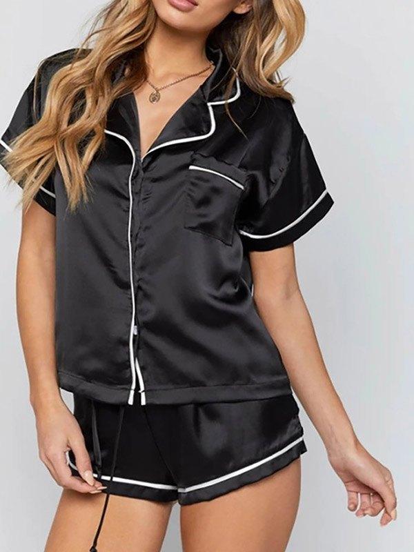 Satin Short Sleeve Pajama Set - Black M