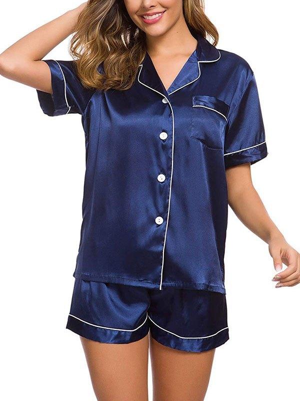 Pinstripe Trim Satin Pajama Set - Blue L