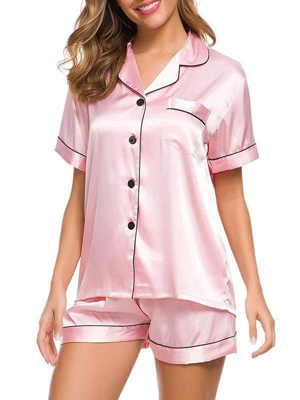 Pinstripe Trim Satin Pajama Set - Pink L