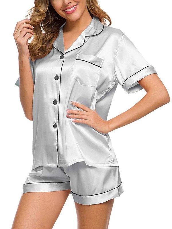 Pinstripe Trim Satin Pajama Set - Silver S