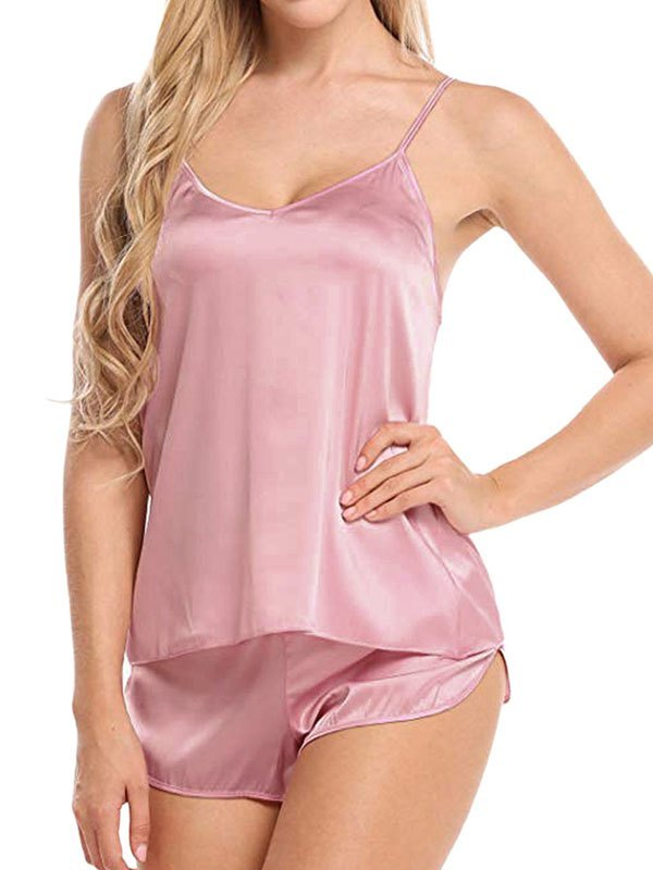 Satin Cami Pajama Set - Pink L