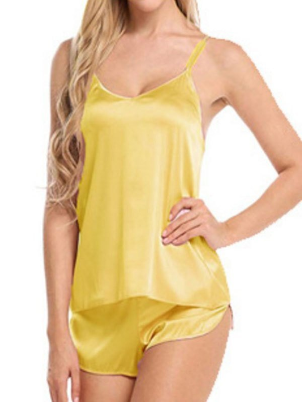 Satin Cami Pajama Set - Yellow M