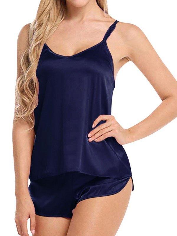 Satin Cami Pajama Set - Navy Blue XL