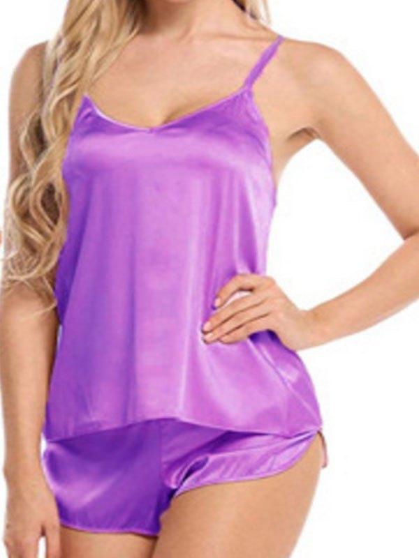 Satin Cami Pajama Set - Purple L