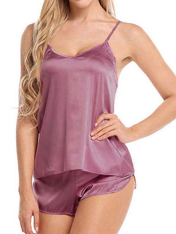 Satin Cami Pajama Set - Burgundy XL