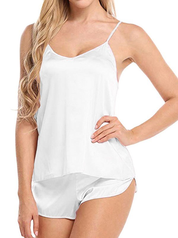Satin Cami Pajama Set - White L