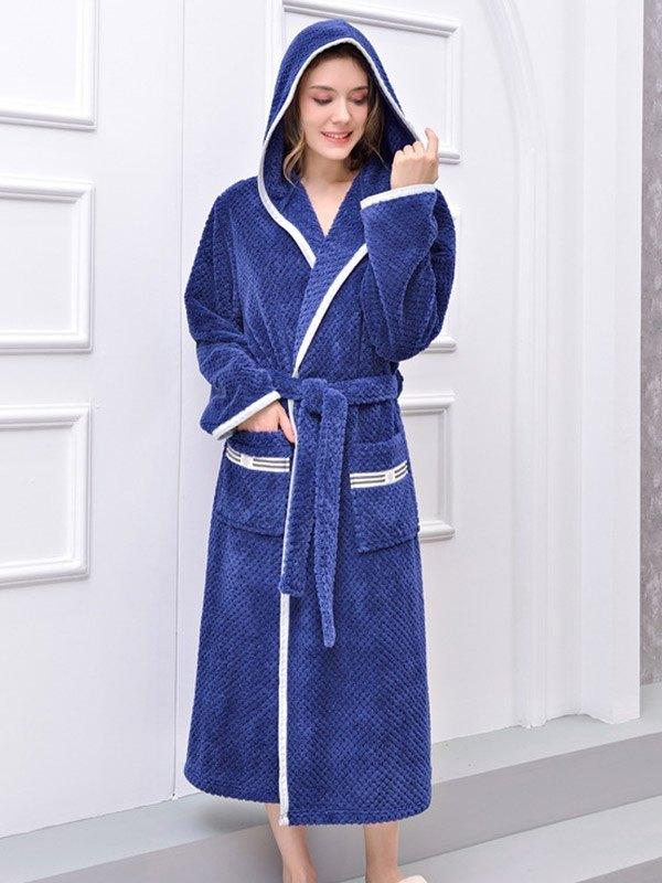 Contrast Trim Long Flannel Lounge Robe - Navy Blue M