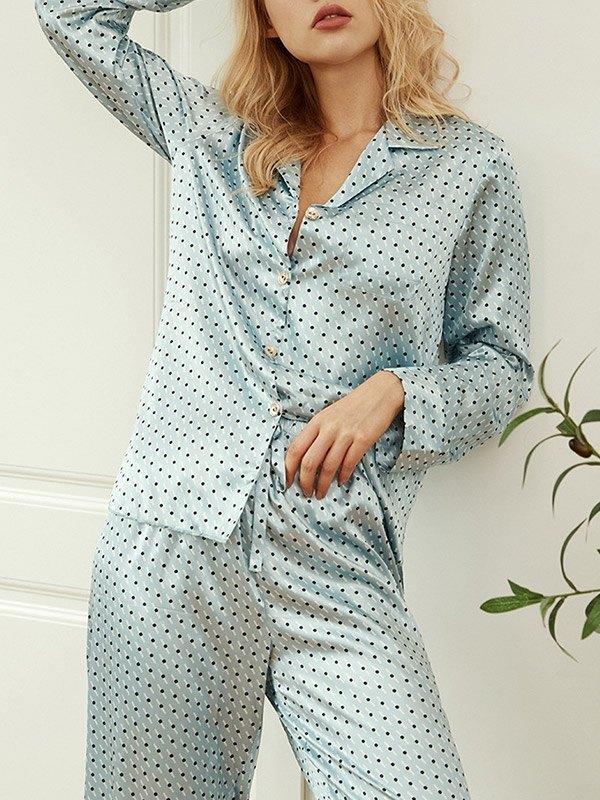 Faux Silk Printed Pajama Set - Blue M