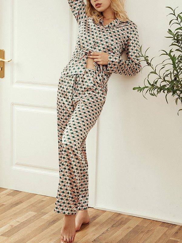 Faux Silk Printed Pajama Set - Green L