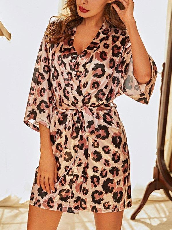 Leopard Faux Silk Pajama Set - Pink L