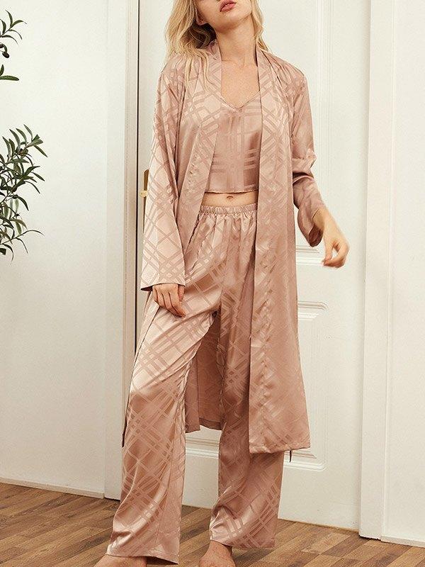 Faux Silk Striped Pajama Set - Pink L