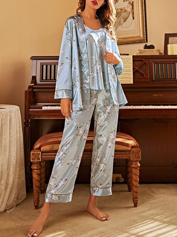 Faux Silk Floral Print Pajama Set - Blue L