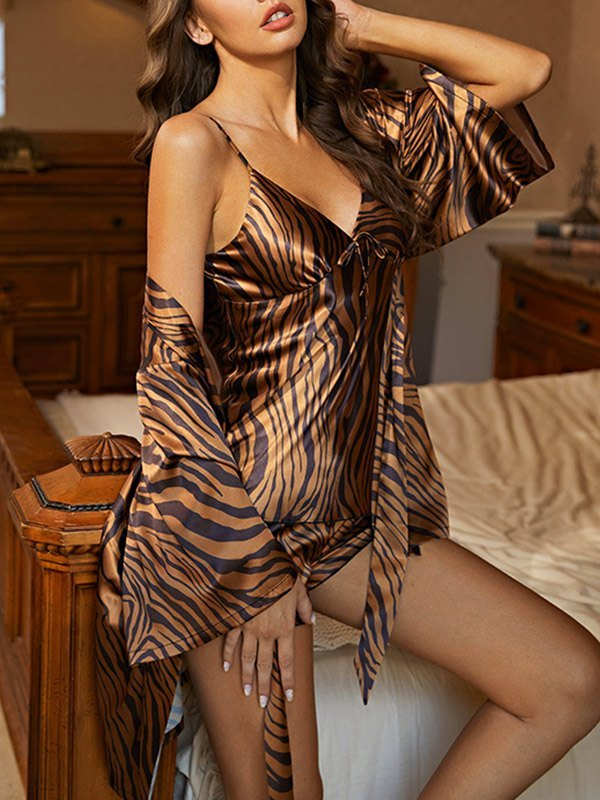 Faux Silk Printed Lounge Pajama Set - Brown M
