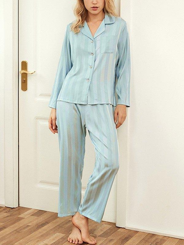 Vertical Stripe Satin Pajama Set - Green L
