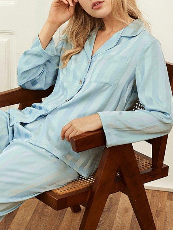 Vertical Stripe Satin Pajama Set - Blue L