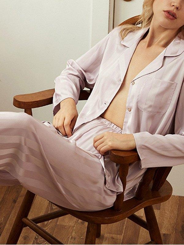 Vertical Stripe Satin Pajama Set - Pink S