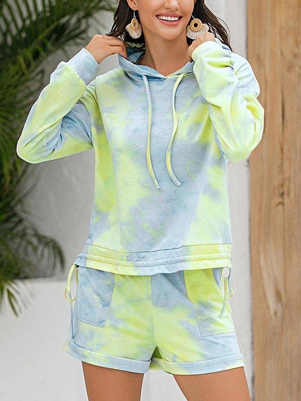 Tie-Dye Hooded Pajama Set - Green M