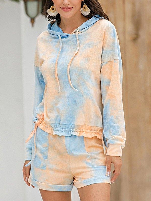 Tie-Dye Hooded Pajama Set - Orange L