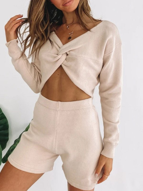 Front Knotted Knitted Lounge Set - Apricot M
