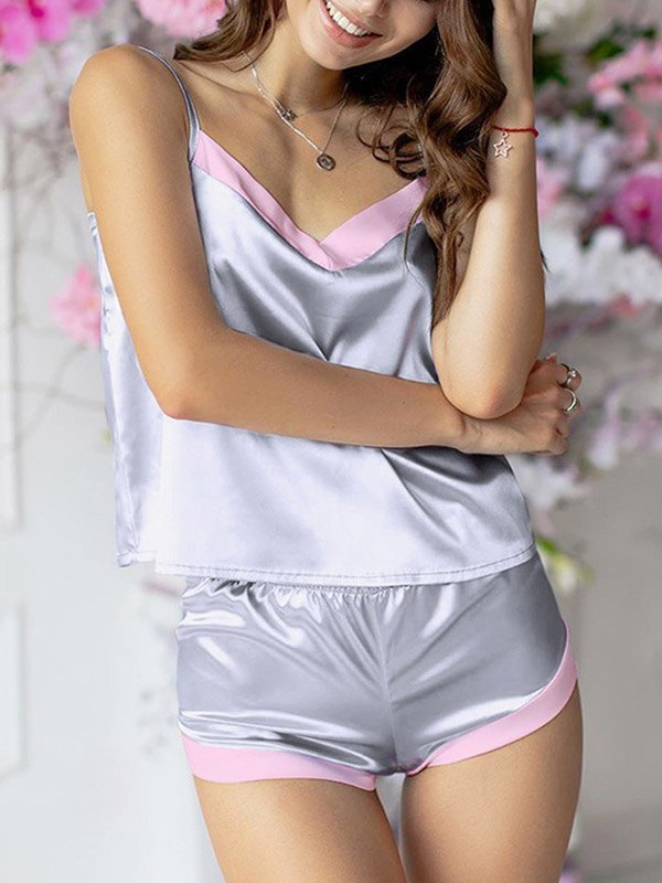 Faux Silk Splice Cami Pajama Set - Gray L