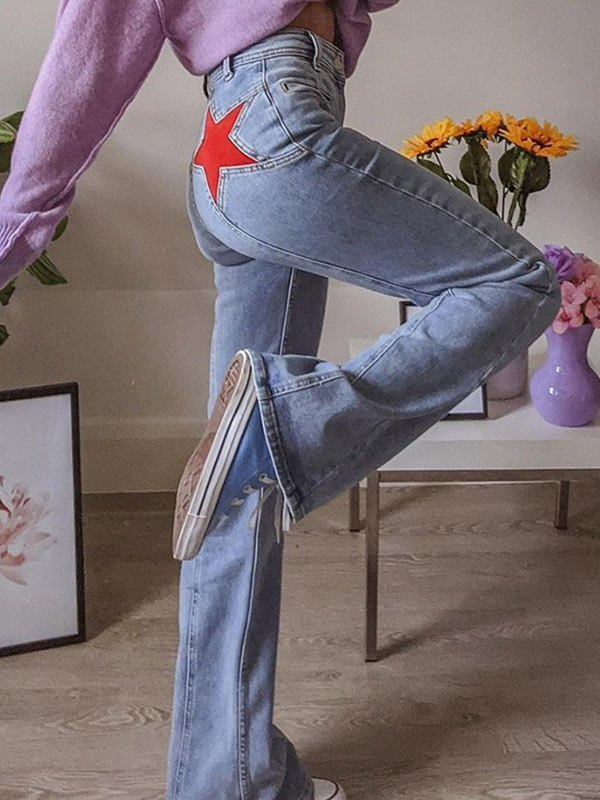 Back Star Patchwork Flare Jeans - Blue S