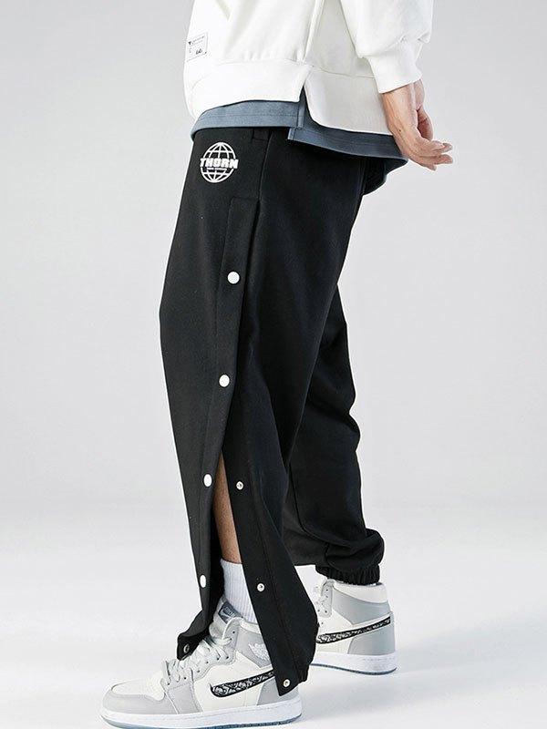Men's Side Buttoned Sweat Pants - Black M