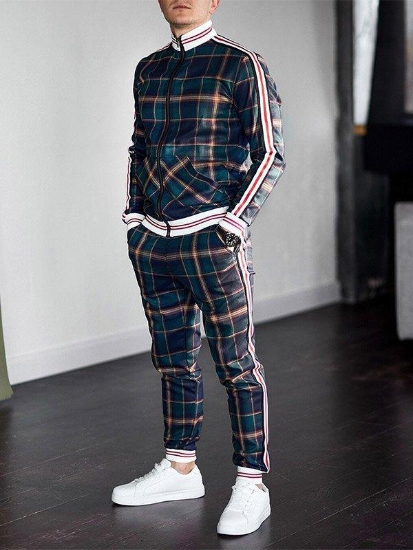 Men's Stripe Paneled Plaid Tracksuit Set - Green M