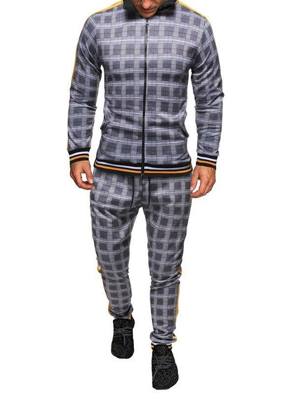 Set da tuta da uomo con giacca scozzese - Grigio XL