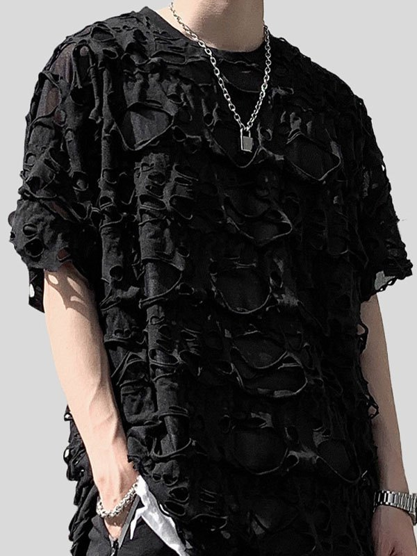 Men's Ripped Allover Short Sleeve Tee - Black XL